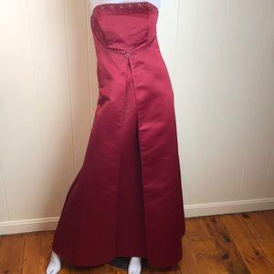 Eden Bridals Burgundy Beaded Prom Gown